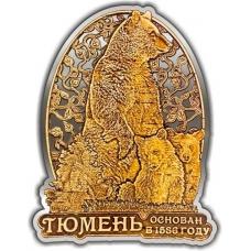 Магнит из бересты вырезной Тюмень Медведь с медвежатами в облаке серебро