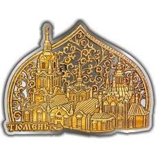 Магнит из бересты вырезной Тюмень Знаменский Кафедральный собор Облако купол серебро