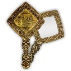 Зеркало квадратное с ручкой Саратов Консерватория (береста, тиснение, дерево)