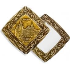 Зеркало квадратное без ручки Саратов Консерватория (береста, тиснение, дерево)