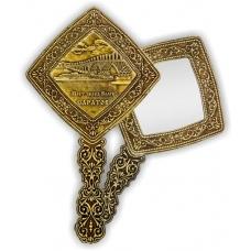 Зеркало квадратное с ручкой Саратов Мост через Волгу (береста, тиснение, дерево)