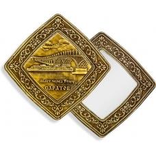 Зеркало квадратное без ручки Саратов Мост через Волгу (береста, тиснение, дерево)