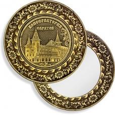 Зеркало круглое без ручки Саратов Консерватория (береста, тиснение, дерево)