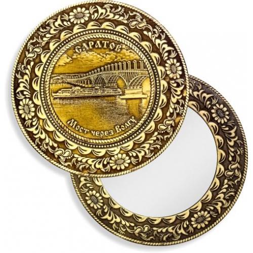 Зеркало круглое без ручки Саратов Мост через Волгу (береста, тиснение, дерево)