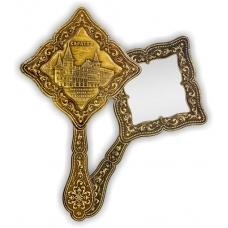 Зеркало фигурное с ручкой Саратов Консерватория (береста, тиснение, дерево)
