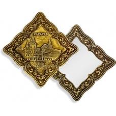Зеркало фигурное без ручки Саратов Консерватория (береста, тиснение, дерево)