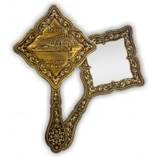 Зеркало фигурное с ручкой Саратов Мост через Волгу (береста, тиснение, дерево)