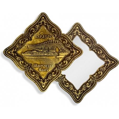 Зеркало фигурное без ручки Саратов Мост через Волгу (береста, тиснение, дерево)