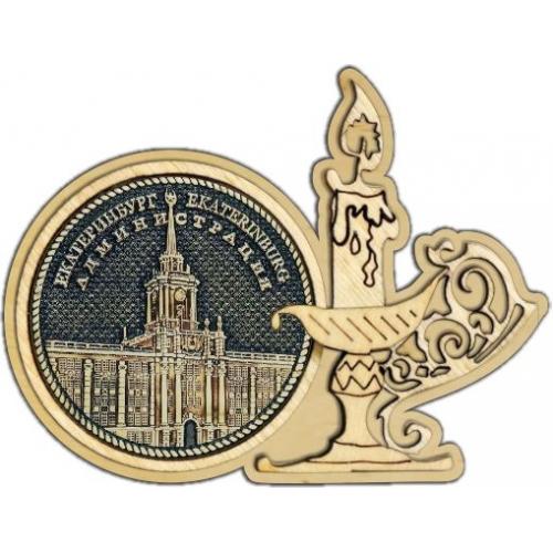 Магнит из бересты Екатеринбург Администрация круг Свечка дерево