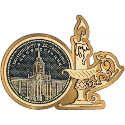 Магнит из бересты Екатеринбург Администрация круг Свечка золото