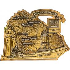 Магнит вырезной из бересты Мурманская область золото