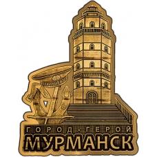 Магнит вырезной из бересты Мурманск Маяк золото