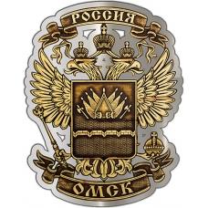 Магнит из бересты вырезной Омск Герб в Орле серебро