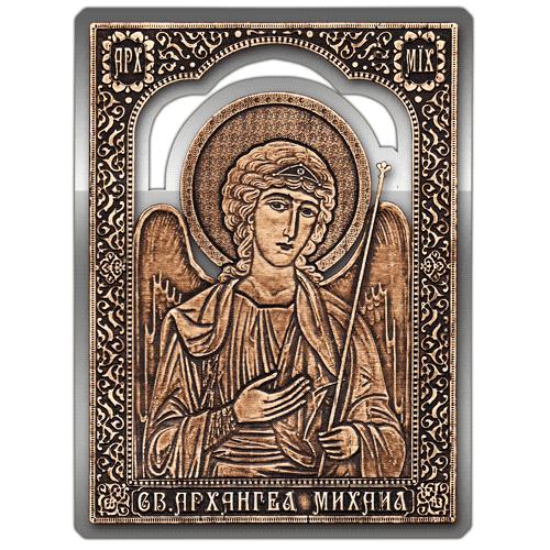 Магнит из бересты вырезной Икона Архангел Михаил (Серебро) В-6909