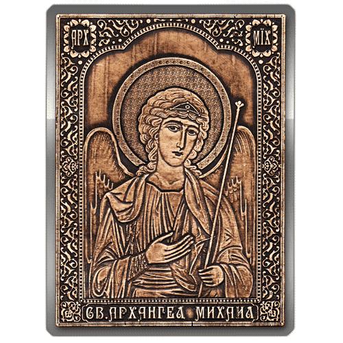 Магнит из бересты вырезной Икона Архангел Михаил (Серебро) В-6911