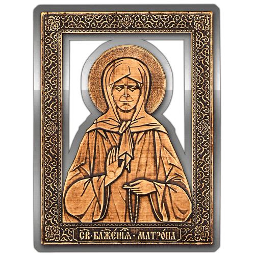 Магнит из бересты вырезной Икона Матрона Московская (Серебро) В-5881