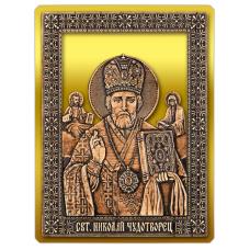 Магнит из бересты вырезная Икона Николай Чудотворец (Золото) В-5884