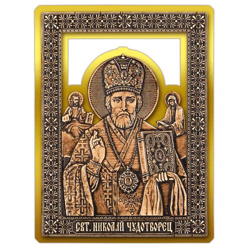 Магнит из бересты прорезная Икона Николай Чудотворец (Золото) В-5886