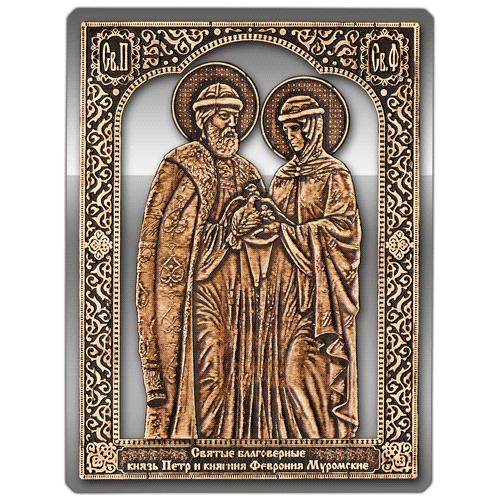 Магнит из бересты прорезной Икона Пётр и Феврония (Серебро) В-8122