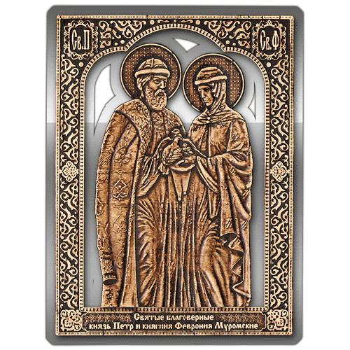 Магнит из бересты сплошной Икона Пётр и Феврония (Серебро) В-8124