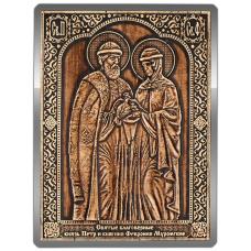 Магнит из бересты Икона Пётр и Феврония (Серебро) В-8126