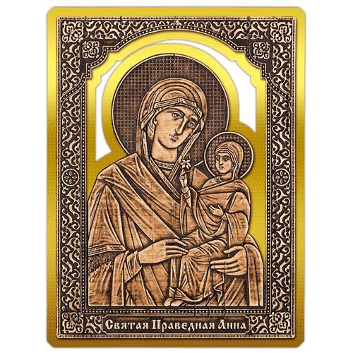 Магнит из бересты прорезной Икона Святая Праведная Анна (Золото) В-22710