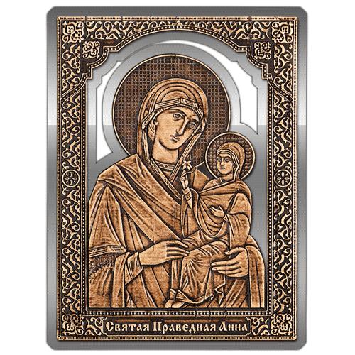 Магнит из бересты прорезной Икона Святая Праведная Анна (Золото) В-22711