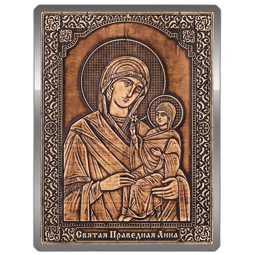 Магнит из бересты сплошной Икона Святая Праведная Анна (Серебро) В-22713