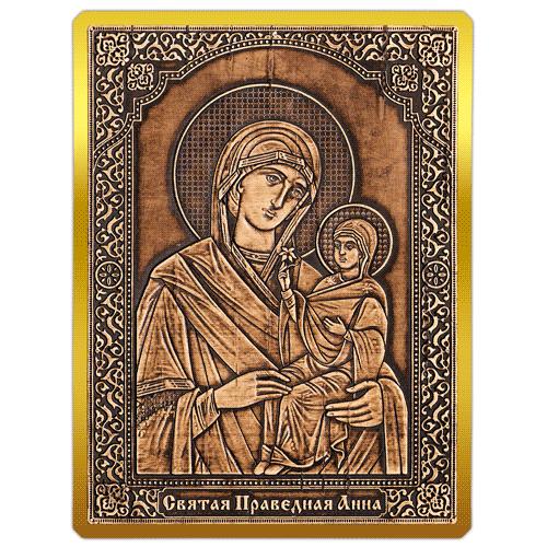 Магнит из бересты сплошной Икона Святая Праведная Анна (Золото) В-22712