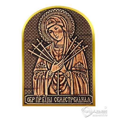 Магнит-Иконка - Семистрельная Божия Матерь золото