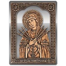 Магнит из бересты вырезная Икона Семистрельная Божия Матерь (Серебро) В-5891