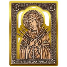 Магнит из бересты прорезная Икона Семистрельная Божия Матерь (Золото) В-5892