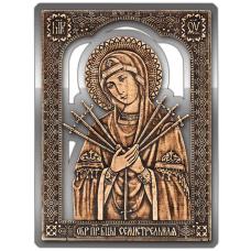 Магнит из бересты прорезная Икона Семистрельная Божия Матерь (Серебро) В-5893