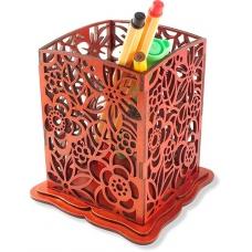 """Карандашница деревянная """"Цветы"""" лакированная под """"Красное дерево"""""""