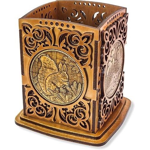 Карандашница с четырьмя накладками из бересты Белка, Ежик, Сова, Медведица