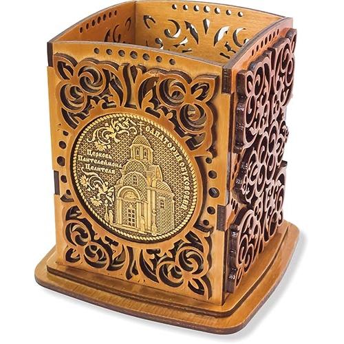 Карандашница сан. Обуховский с двумя накладками из бересты Герб и Церковь