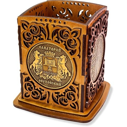 Карандашница сан. Обуховский с четырьмя накладками из бересты Герб и Церковь