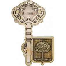Магнит из бересты Липецк Герб Ключ дерево