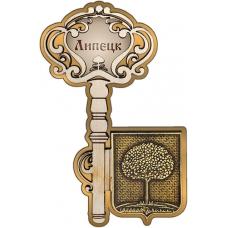 Магнит из бересты Липецк Герб Ключ золото