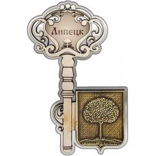 Магнит из бересты Липецк Герб Ключ серебро