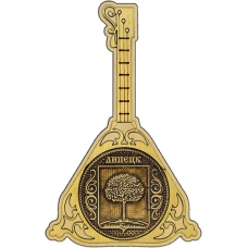 Магнит из бересты Липецк Герб круг Балалайка дерево