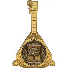 Магнит из бересты Липецк Герб круг Балалайка золото