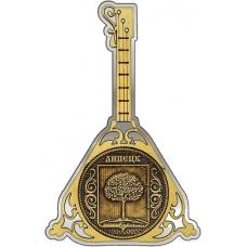 Магнит из бересты Липецк Герб круг Балалайка серебро
