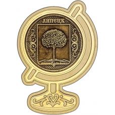 Магнит из бересты Липецк Герб круг Глобус дерево