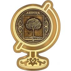 Магнит из бересты Липецк Герб круг Глобус золото