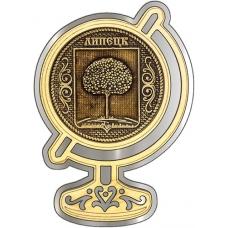 Магнит из бересты Липецк Герб круг Глобус серебро