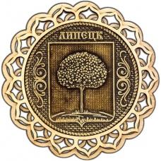 Магнит из бересты Липецк Герб круг