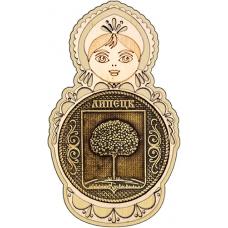 Магнит из бересты Липецк Герб круг Матрешка дерево