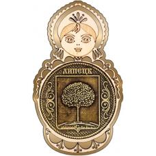 Магнит из бересты Липецк Герб круг Матрешка золото