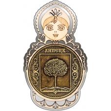 Магнит из бересты Липецк Герб круг Матрешка серебро